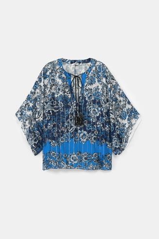 Bluse im Kimono-Stil mit orientalischem Muster