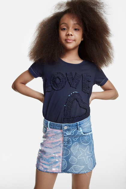 Jeans-Minirock mit Meeresschnecken und Pailletten