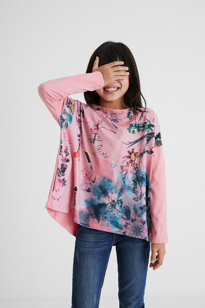 T-shirt oversize fleuri