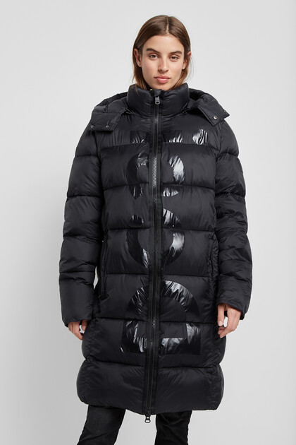 Long padded hooded jacket