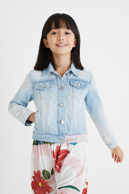 Denim jacket Swiss embroidery
