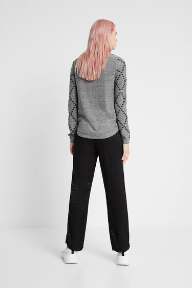 Viscose, wool and cashmere curved hem jumper | Desigual