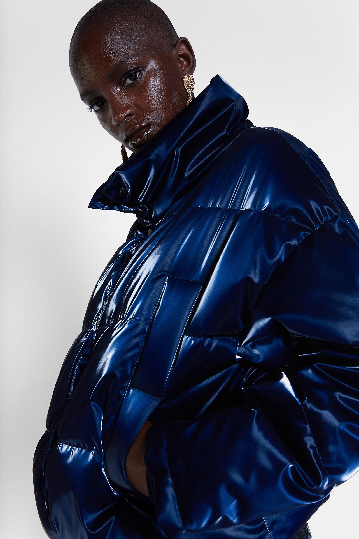 Shiny padded short jacket - BLUE - S