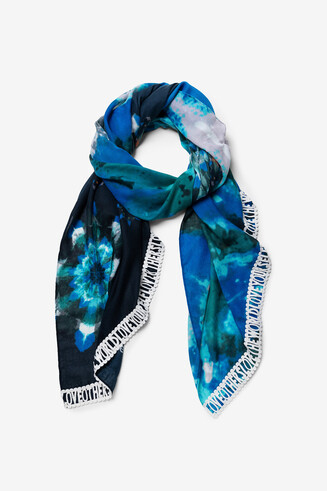 Black and blue faded effect foulard