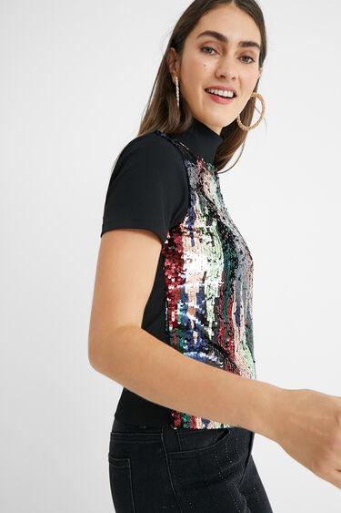 T-shirt slim sequins | Desigual