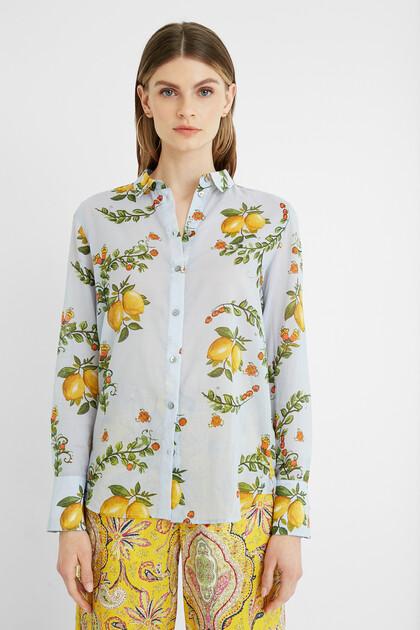 Katoenen overhemdblouse met citroenen