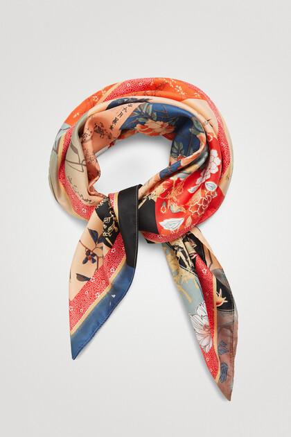 Foulard carré fleurs orientales