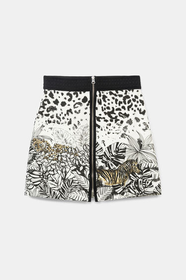 Korte rok met rits en tropische print | Desigual