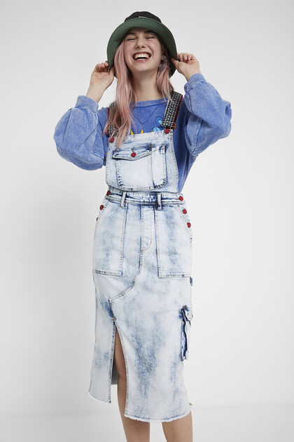 Overall type jean dress