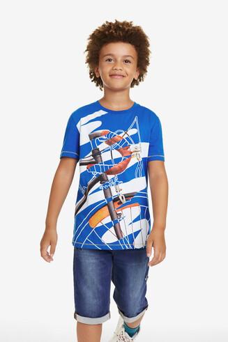 T-shirt met fiets en krabbels Dante