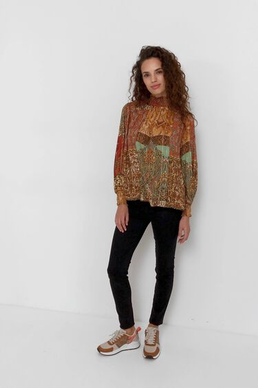 Bluse mit marokkanischem Aufdruck und Lurex | Desigual