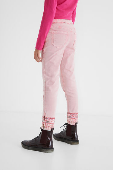 Slim trousers embroidered ankles   Desigual