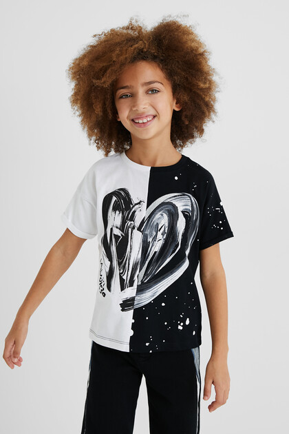 Cotton T-shirt bicolour heart