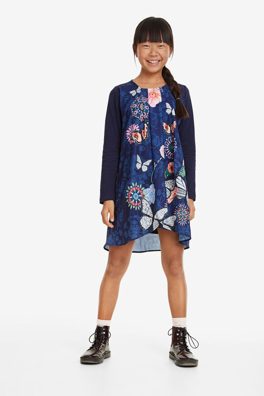 Vestit doble capa creuada floral   Desigual