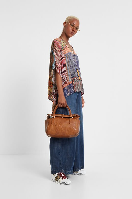 Leather effect embroideries bag | Desigual