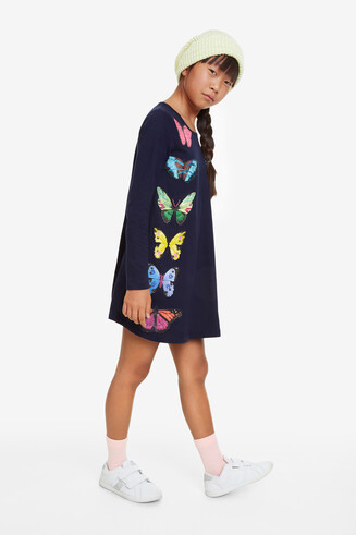 Flared dress large butterflies