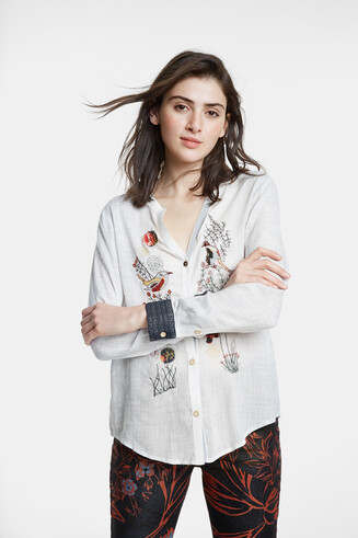 Shirt with flowers and birds