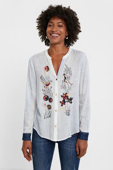 Camisa amb flors i ocells   Desigual