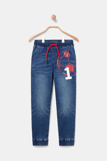 Printed denim jogger trousers | Desigual