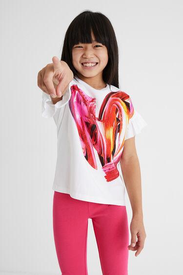 T-shirt manches courtes volants | Desigual
