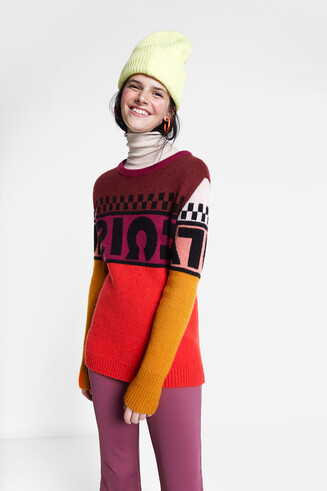 Knitted jumper lettering