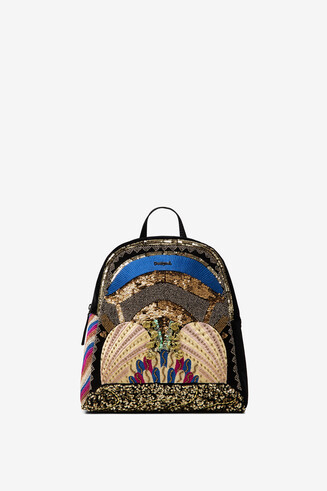 Mini-backpack with embroidery and sequins