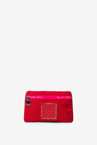 Red and fuchsia coin purse zipper