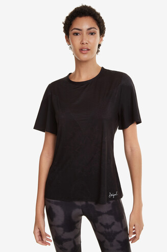 Black Mesh T-shirt Volantes Hindi