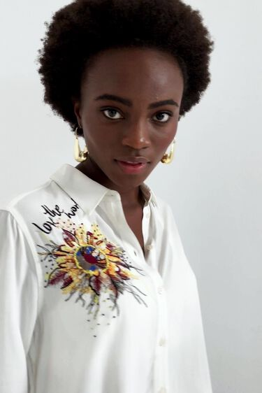 Floral embroidery shirt   Desigual