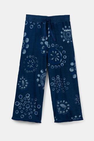 Spodnie culotte do kostki w akwarelowe mandale