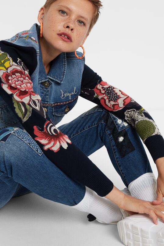 Jaqueta denim punt floral   Desigual