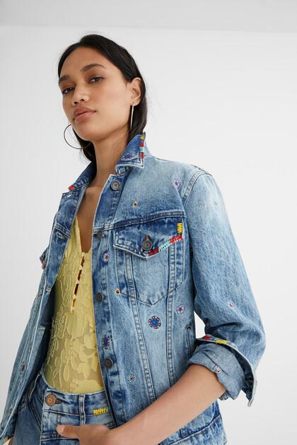 Jeansjacke im Slim Fit Mandalas