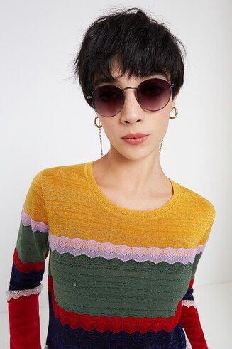 Sweater striped Lurex and lace
