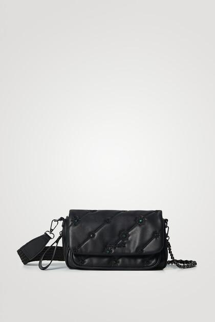 Leather effect embroidered handbag