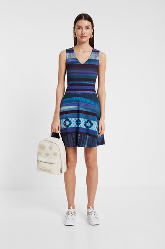 Short dress with horizontal bands