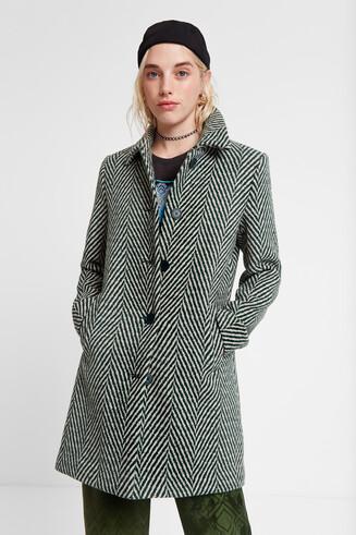 Abrigo paño verde zigzag