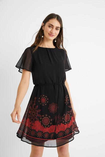 Gauze belt dress
