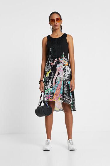 Dress with fringe | Desigual