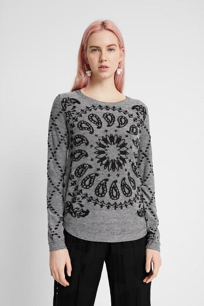 ビスコース混紡ウール・カシミア 丸裾セーター