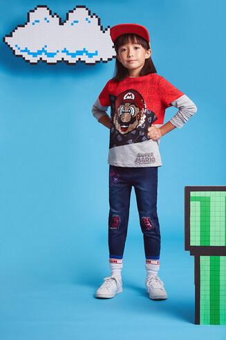 T-shirt manga dupla básica Super Mario