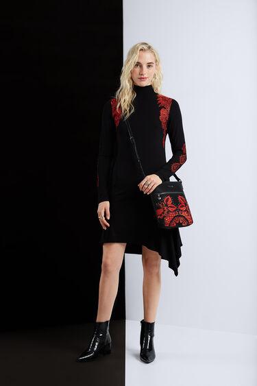 Turtleneck asymmetric dress | Desigual