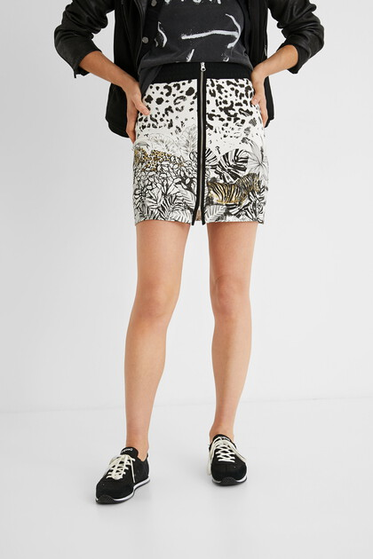 Tropical short skirt zipper