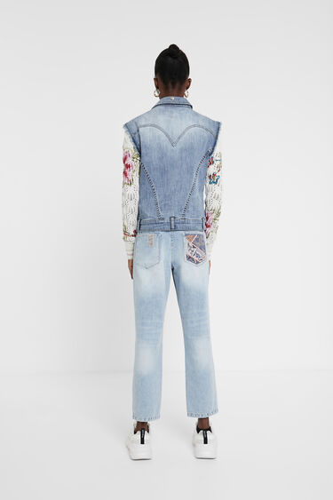Jacket floral patch jean and crochet | Desigual