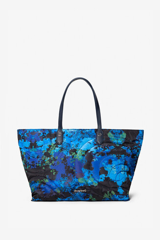 Handbag and shoulder bag  with floral camouflage