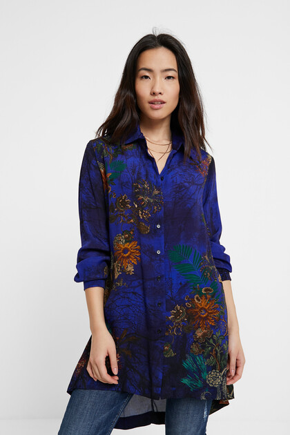 Long flowing print shirt