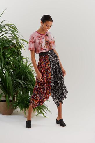 Asymmetric patch print dress