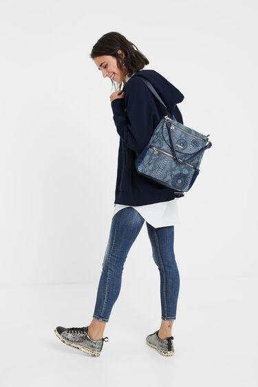 Medium embossed leather effect backpack   Desigual