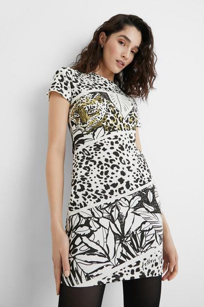 Robe courte robe chasuble animal print