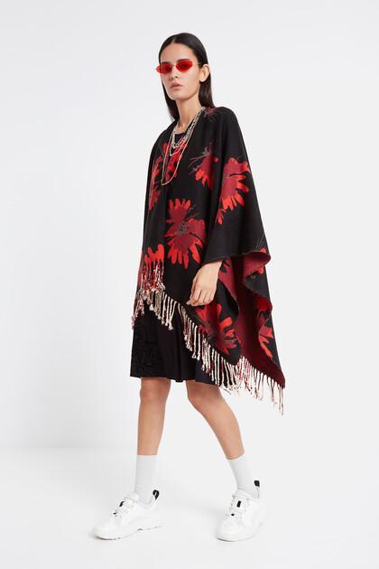 Reversible floral poncho