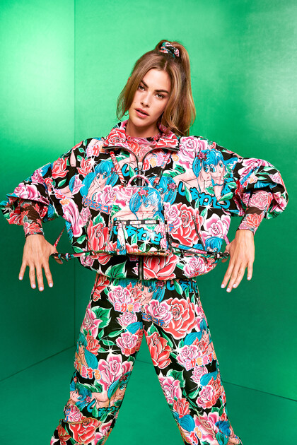 Jaqueta curta estampada